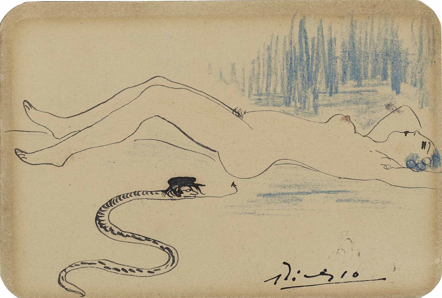 Pablo Picasso-Nu Et Serpent-1902