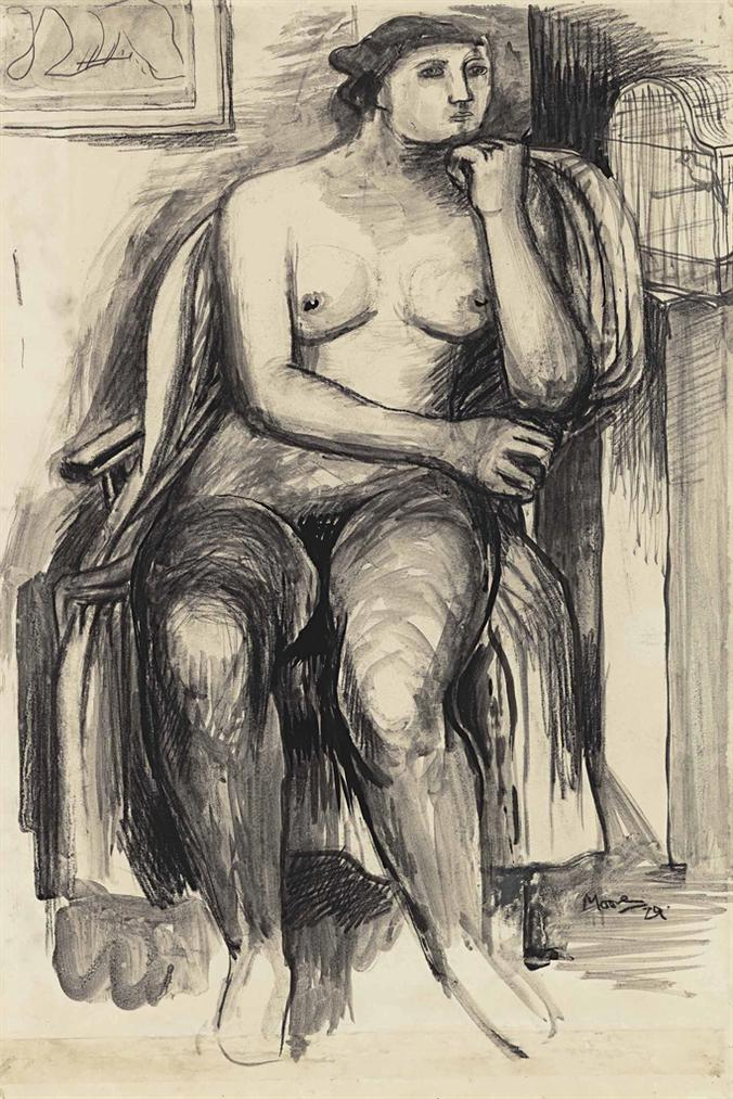 Henry Moore-Seated Female Nude-1929