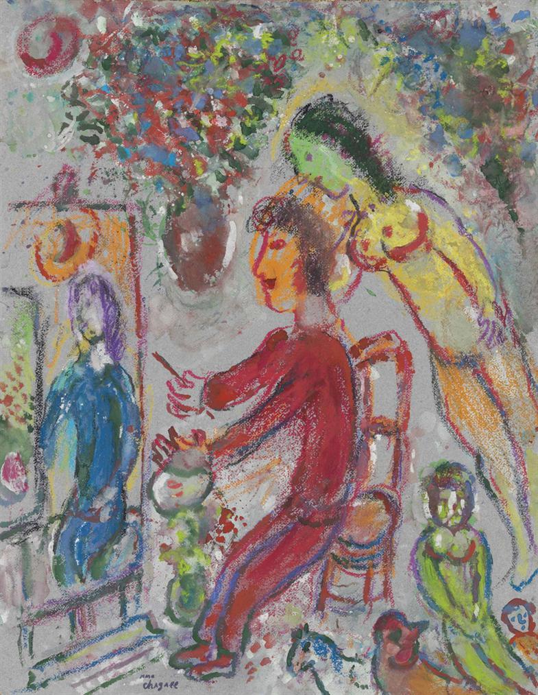 Marc Chagall-Le Peintre En Rouge-1985