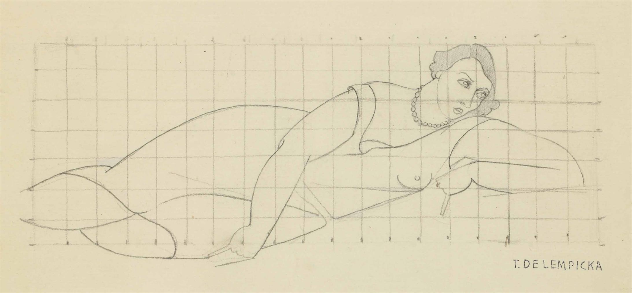 Tamara de Lempicka-Dessin Preparatoire, Femme Allongee-1926