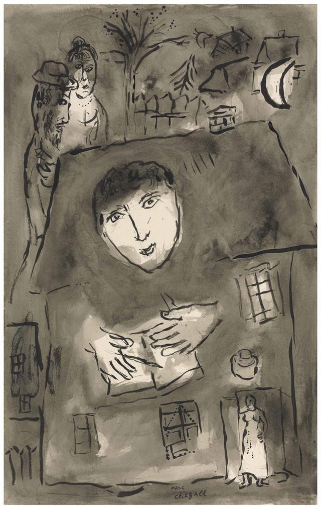 Marc Chagall-Lecrivain Sur Le Toit-1962