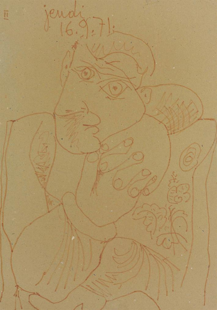 Pablo Picasso-Homme Assis-1971