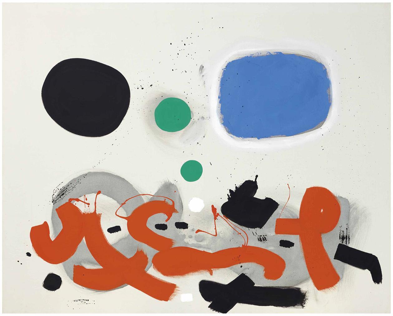 Adolph Gottlieb-Orange Calligraphy-1969