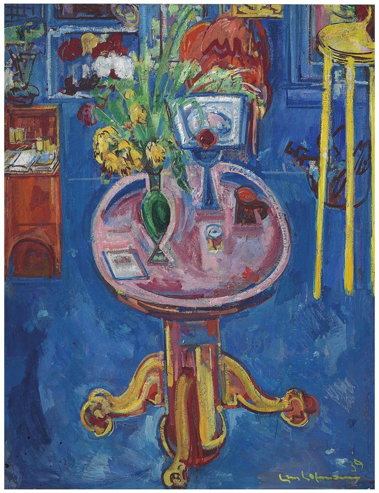 Hans Hofmann-Interior No. 1 - Pink Table, Yellow Tulips-1939
