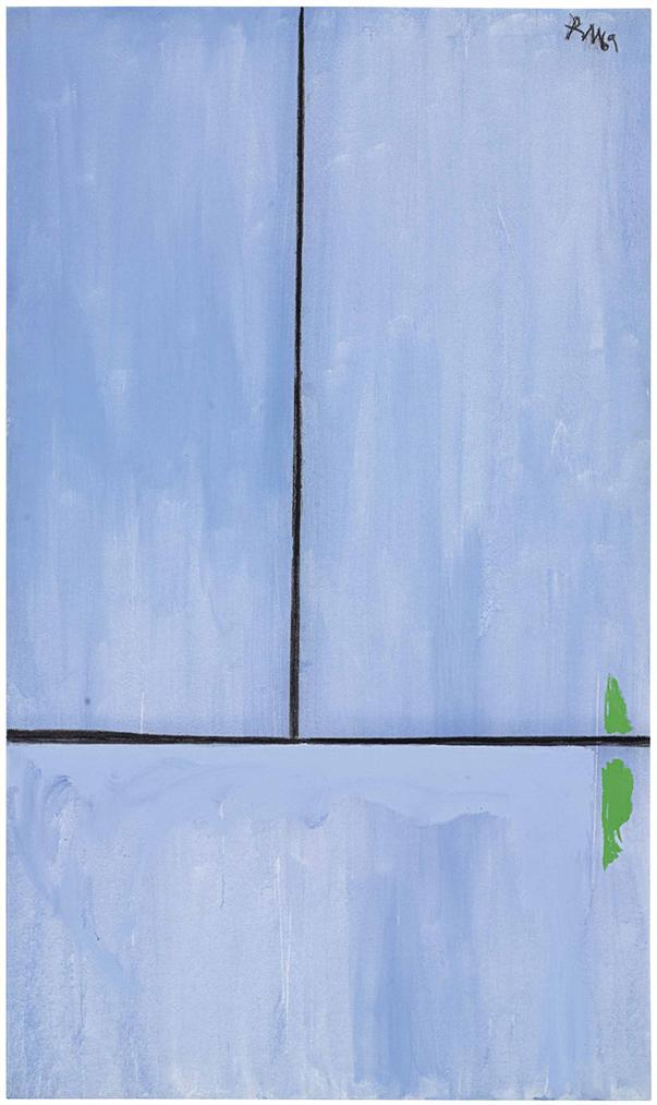 Robert Motherwell-Open No. 81: In Blue With Charcoal Line-1972