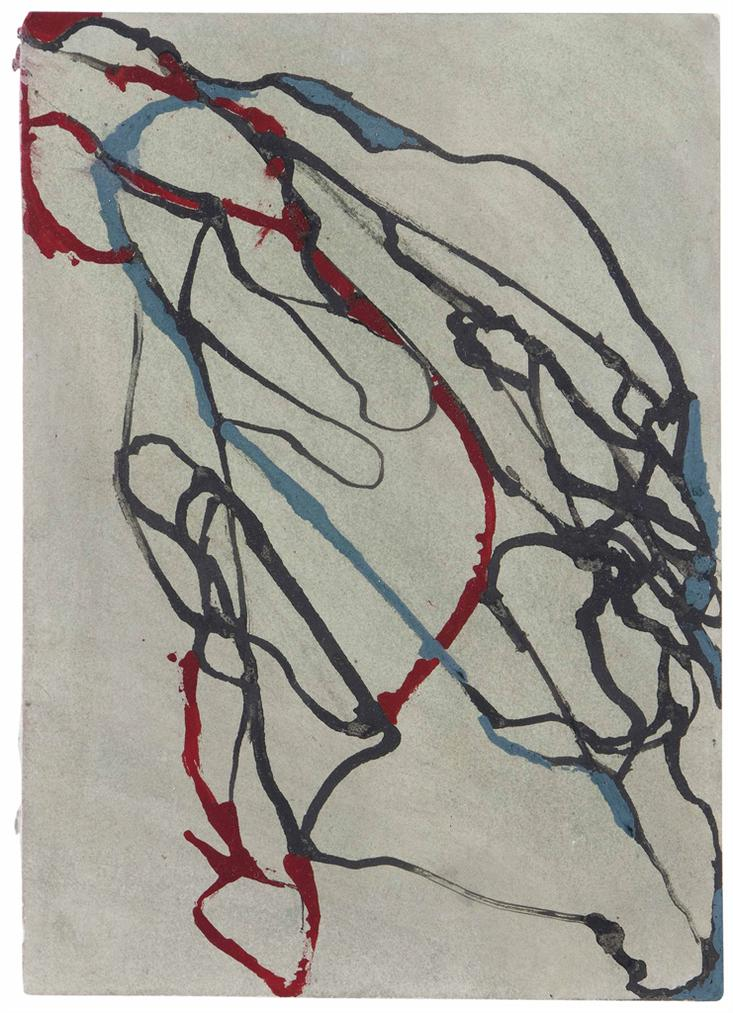 Brice Marden-Hydra Rock 3 (Red, Grey, Green)-2002