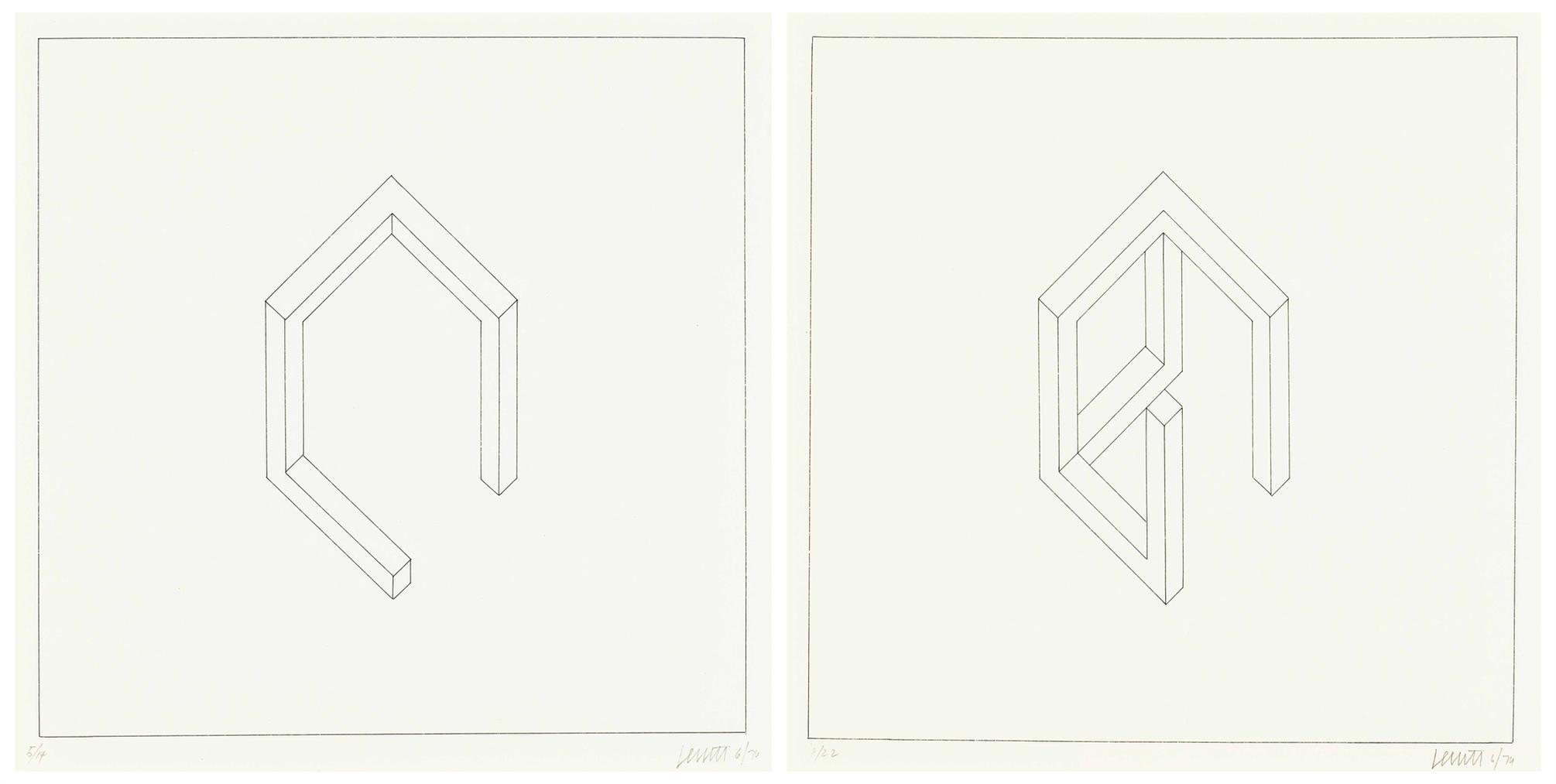 Sol LeWitt-Incomplete Open Cube (Two Works); Incomplete Open Cube (5/14)-