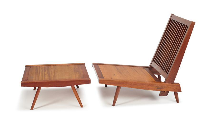 George Nakashima - Loose Cushion Chair And Ottoman (2)-1958