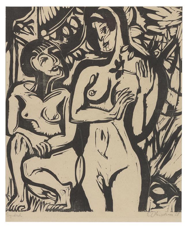Ernst Ludwig Kirchner-Zwei Akte Im Walde-1928