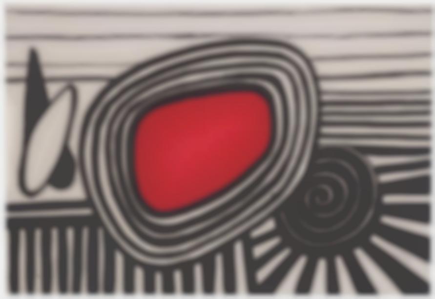 Alexander Calder-Composition With Red Oval And Black Spiral-1969