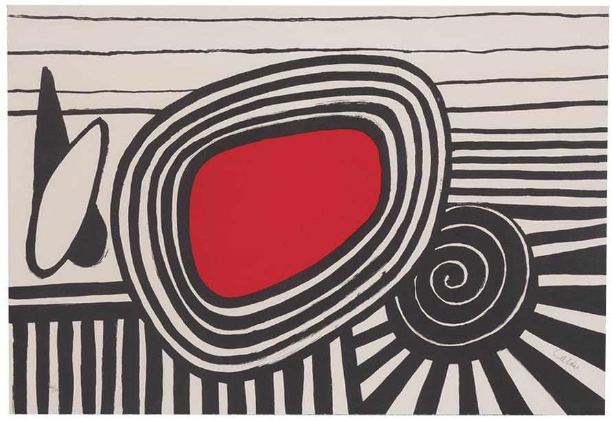 Alexander Calder-Composition With Red Oval And Black Spiral-1969