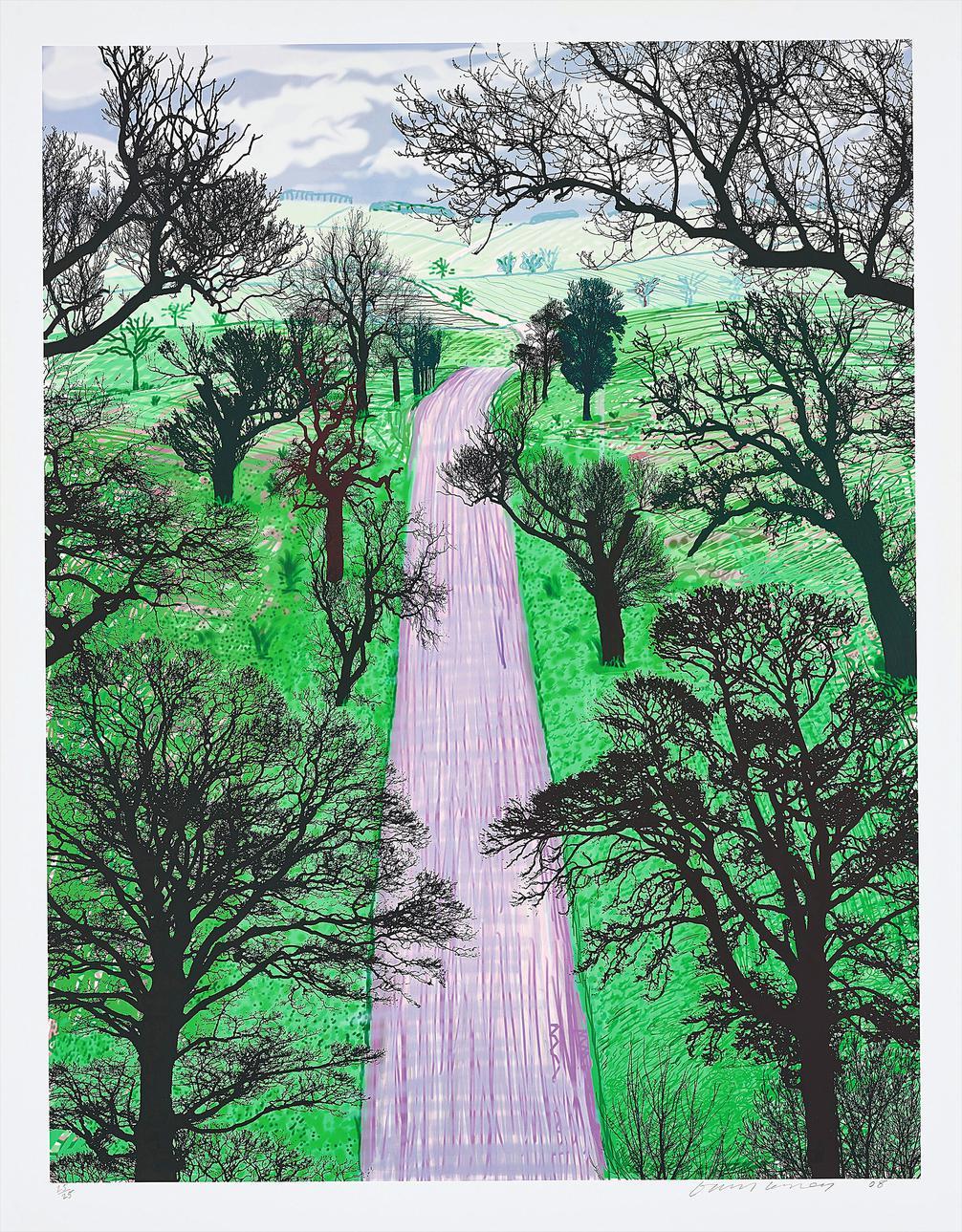 David Hockney-Winter Road Near Kilham-2008