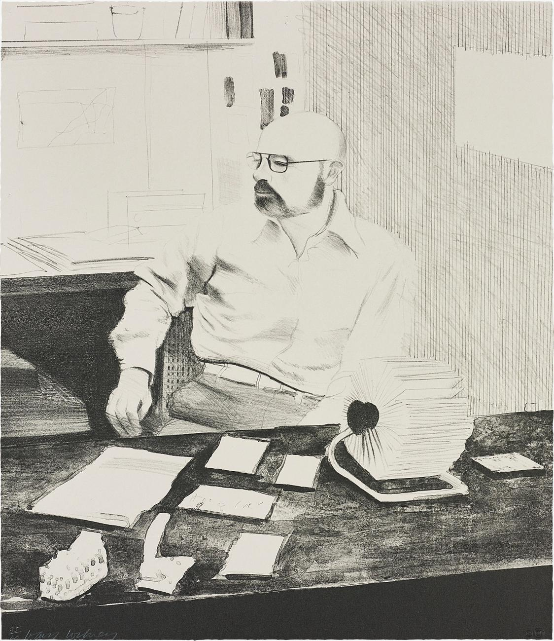 David Hockney-Sidney In His Office, From Friends-1976