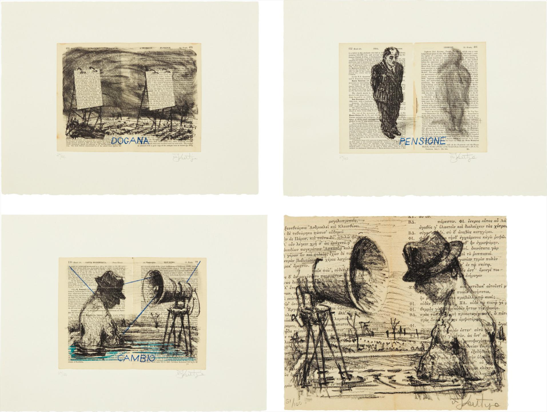 William Kentridge-Baedeker (Dogana); Baedeker (Pensione); Baedeker (Cambio); And Untitled-1999