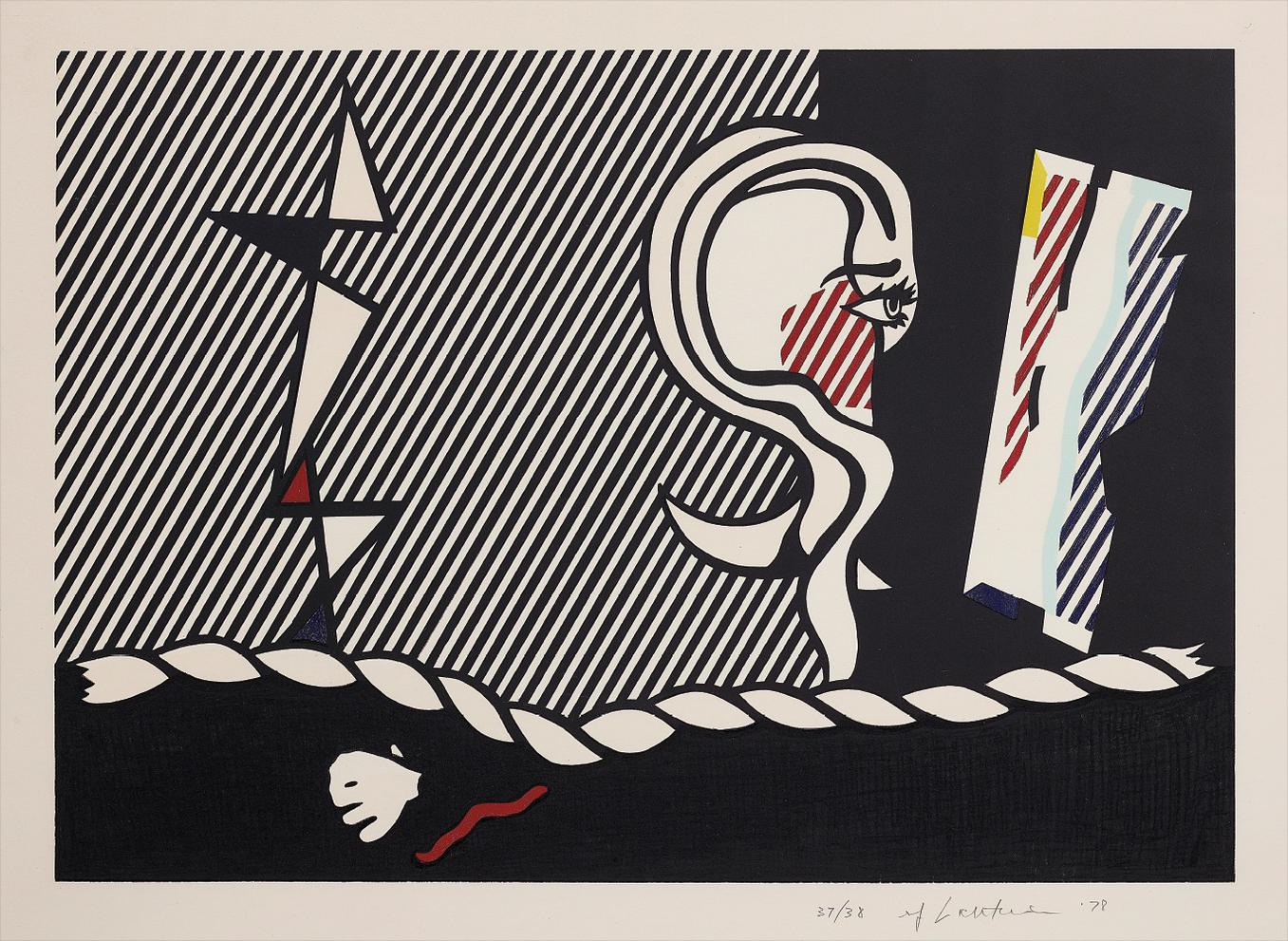 Roy Lichtenstein-Figures With Rope, From Surrealist Series-1978