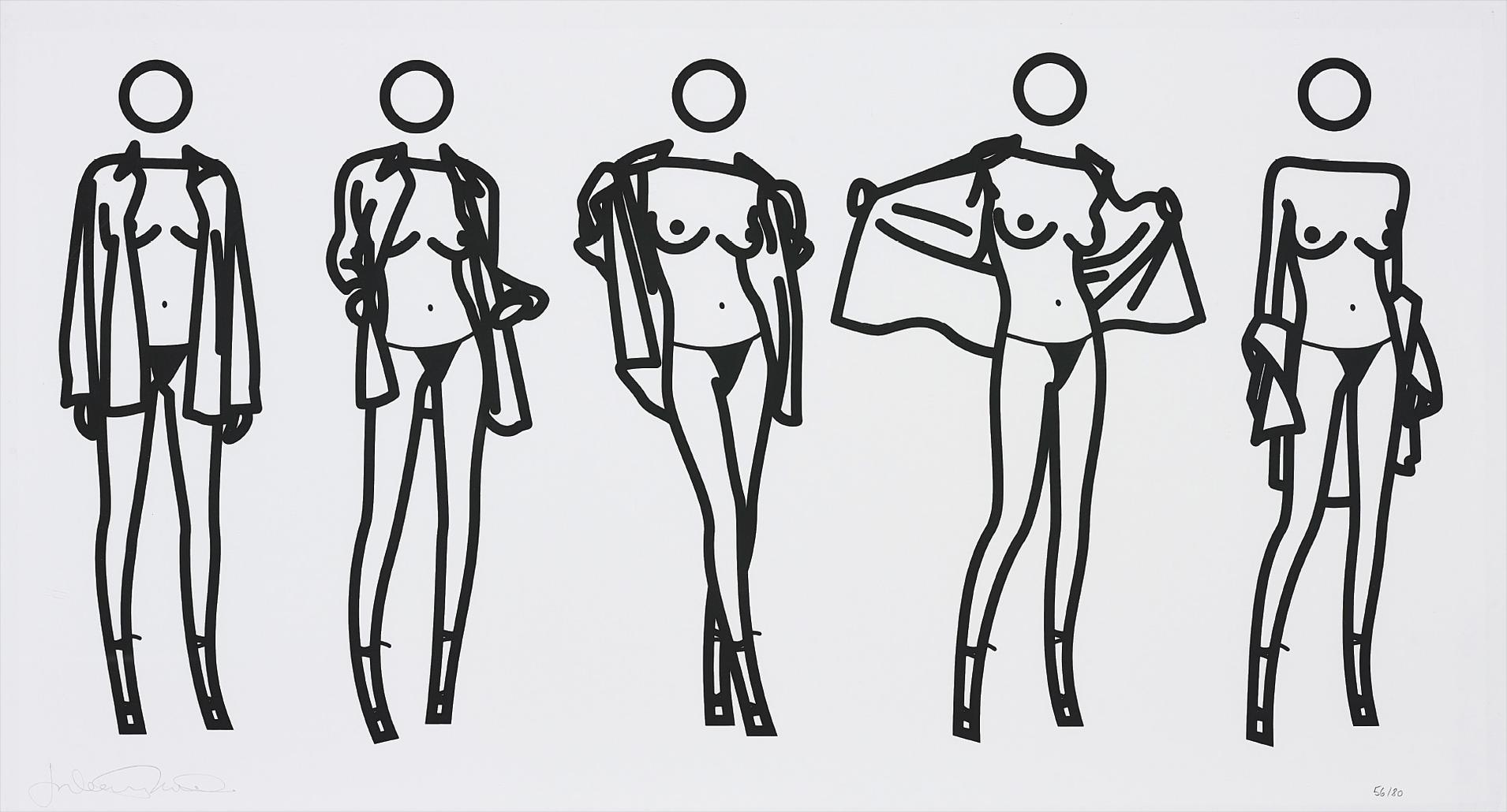 Julian Opie-Woman Taking Off Mans Shirt In Five Stages-2004