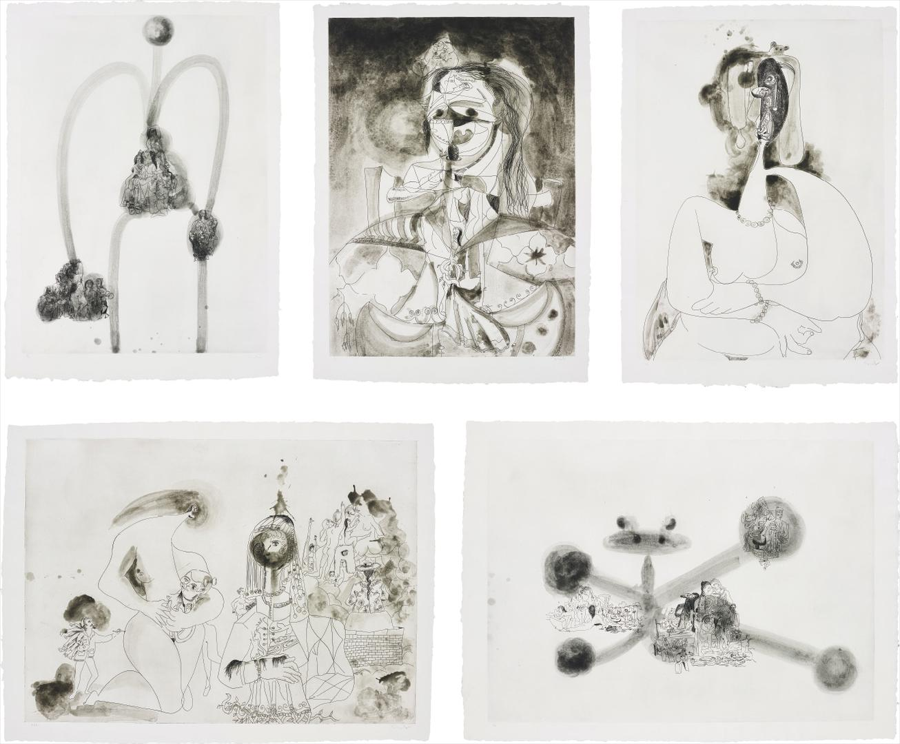 George Condo-More Sketches Of Spain - For Miles Davis: Five Plates-1991