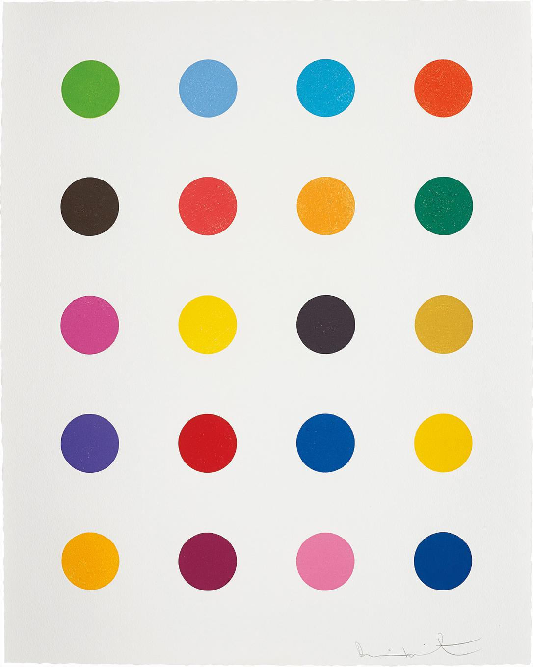 Damien Hirst-Benzyloxyurea, From 40 Woodcut Spots-2011
