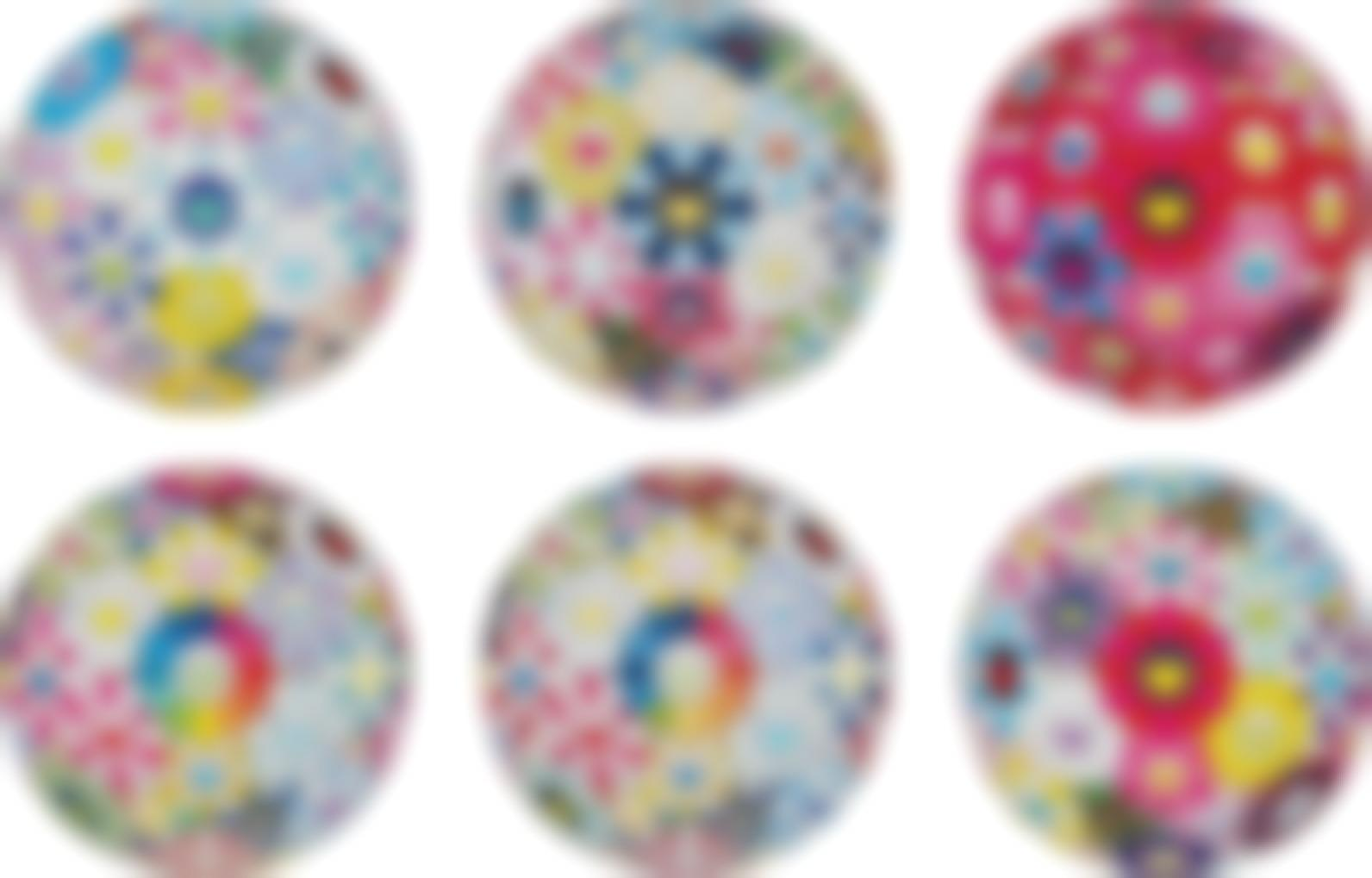 Takashi Murakami-Cosmic Power; The Flowerballs Painterly Challenge; Thoughts On Picasso; Flowerball: Want To Hold You; Scenery With A Rainbow In The Midst; And Flowerball: Open Your Hands Wide-2016