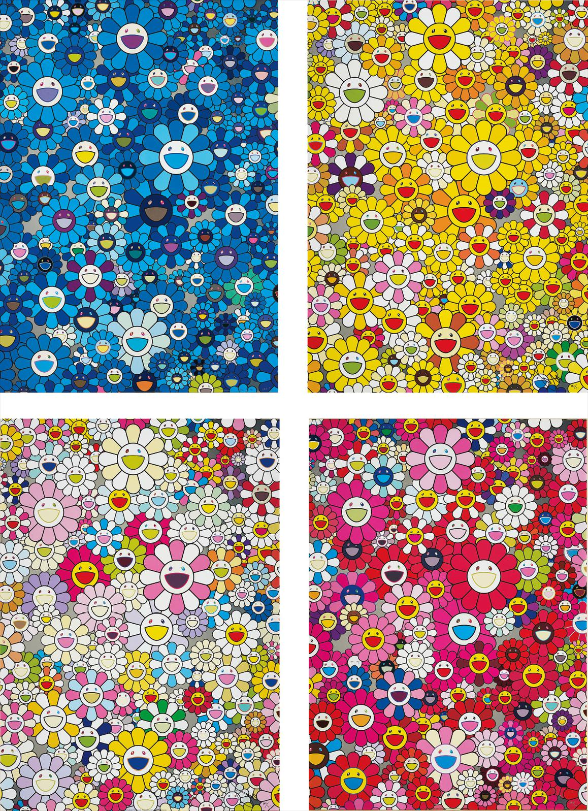 Takashi Murakami-An Homage To Ikb, 1957; An Homage To Monogold 1960 A; An Homage To Yves Klein, Multicolor A; And An Homage To Monopink 1960 A-2012