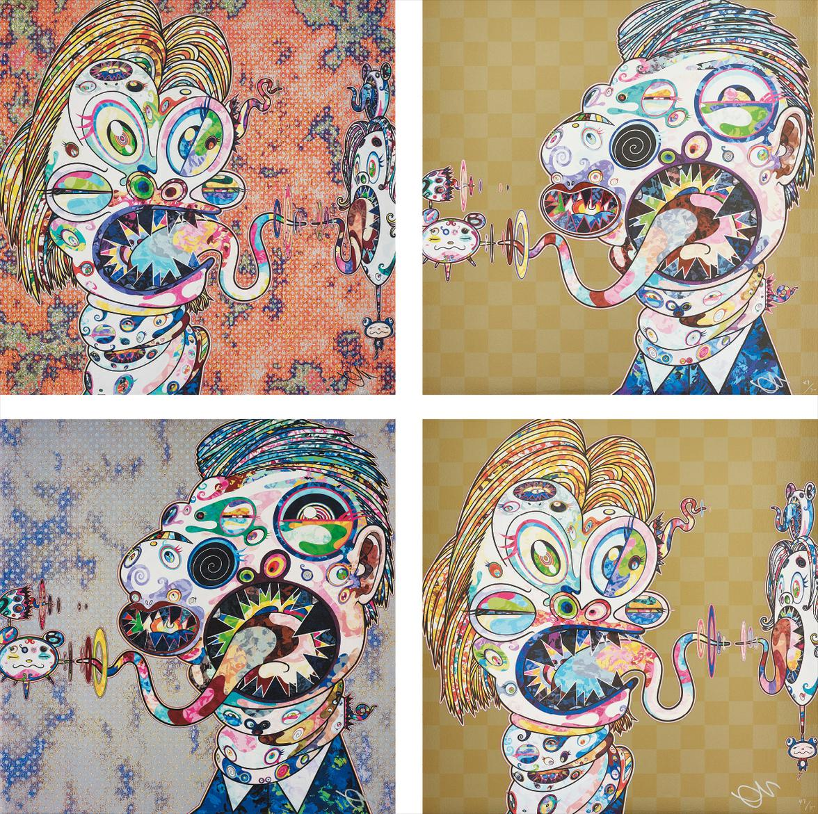 Takashi Murakami-Homage To Francis Bacon (Study For Head Of Isabel Rawsthorne And George Dyer); Homage To Francis Bacon (Study For Head Of Isabel Rawsthorne And George Dyer); Homage To Francis Bacon (Study For Head Of Isabel Rawsthorne And George Dyer); And Homage To Francis Bacon (Study For Head Of Isabel Rawsthorne And George Dyer)-2016