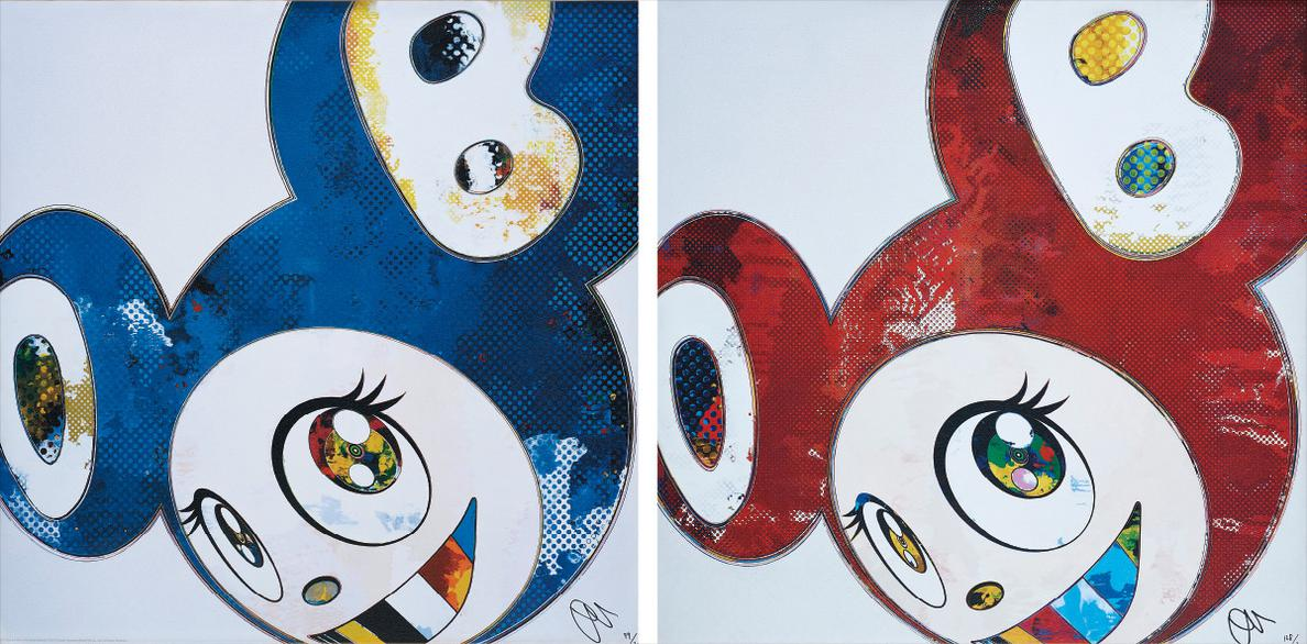 Takashi Murakami-And Then X 6 (Blue: The Polke Method); And And Then X 6 (Red Dots: The Superflat Method)-2013