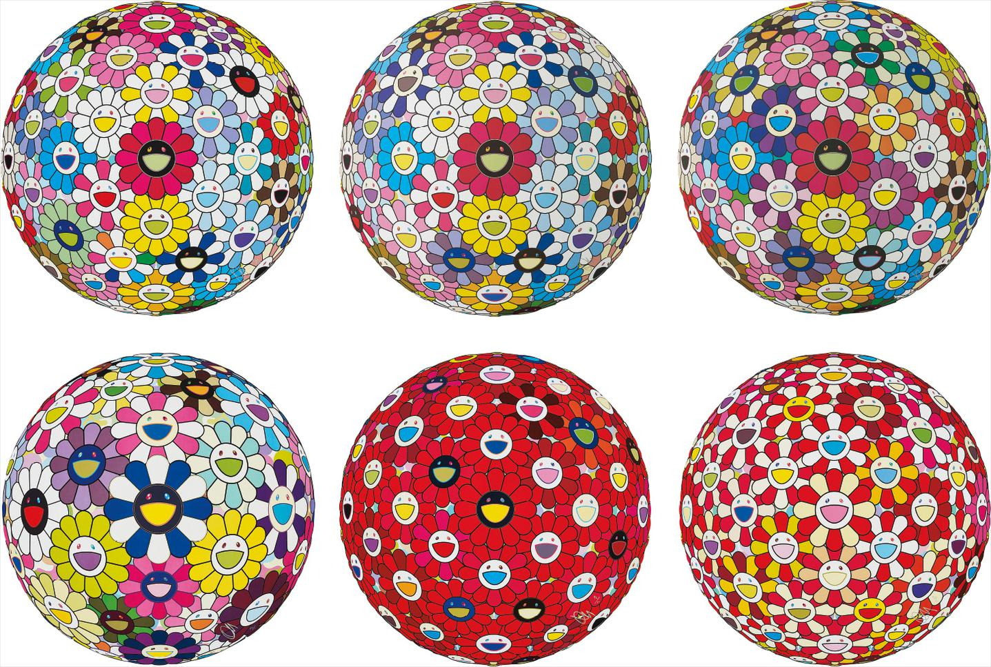 Takashi Murakami-Hold Me Tight!; Space Show; Flowerball Multicolor; Awakening; Flowerball: Bright Red; And Flowerball: Koi/Red-Crowned Crane Vermilion-2017