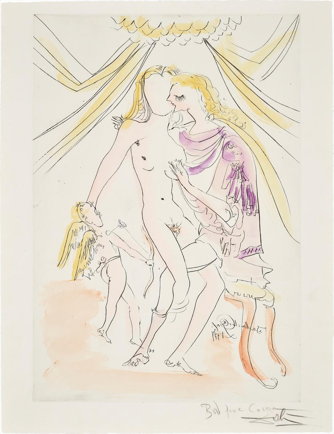 Salvador Dali-Venus, Mars Et Cupidon, From Mythologique Nouvelle (Venus, Mars And Cupid, From New Mythologies)-1971