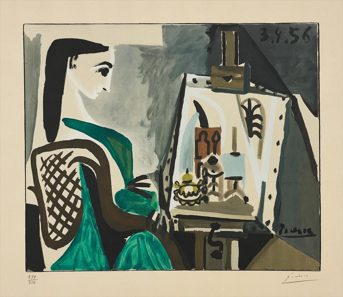 Pablo Picasso-After Pablo Picasso - Jacqueline A Latelier (Jacqueline At The Easel)-1956