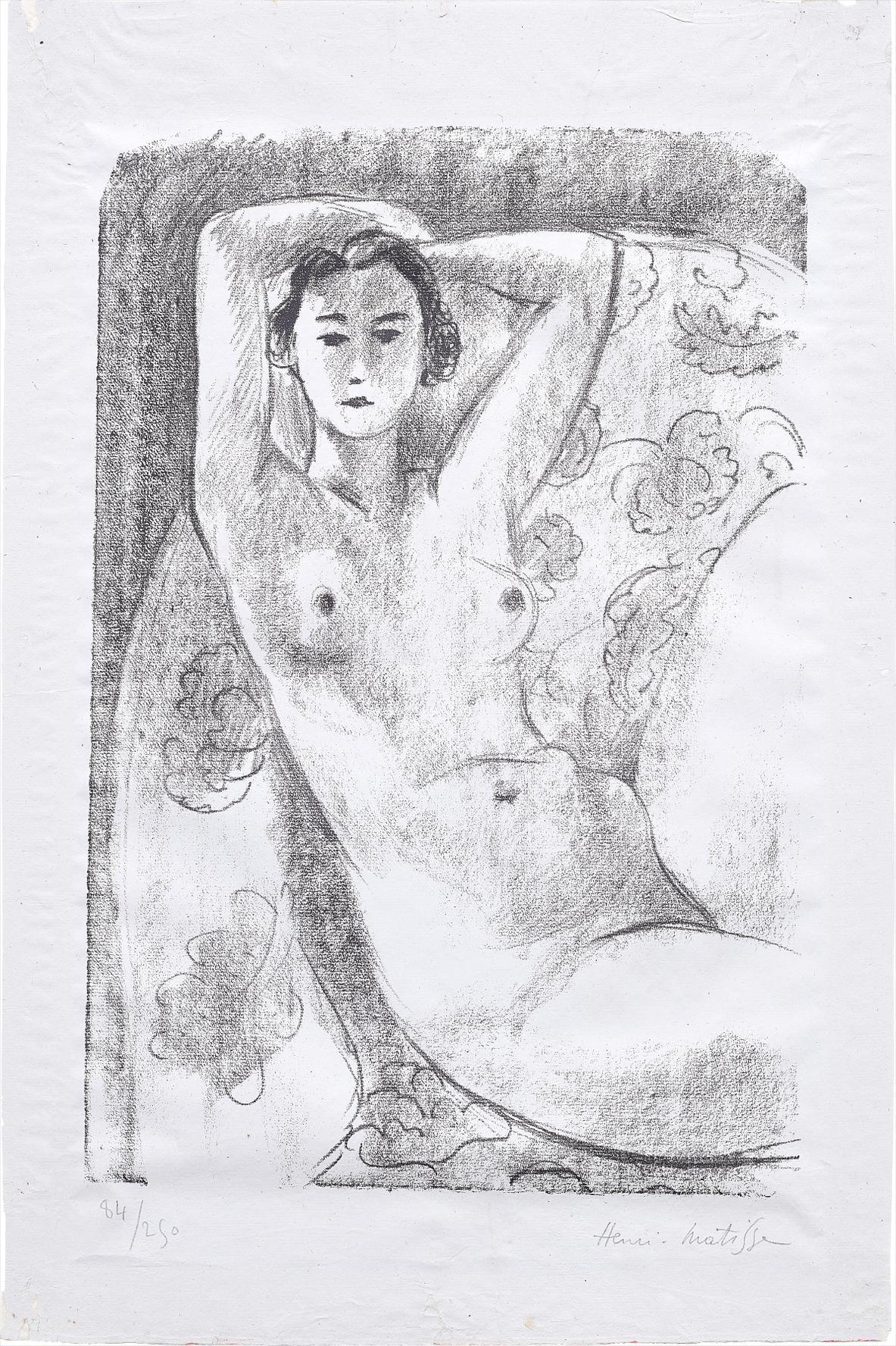 Henri Matisse-Nu Assis Dans Un Fauteuil Au Decor Fleuri (Nude Sitting In A Floral Decorated Armchair)-1924