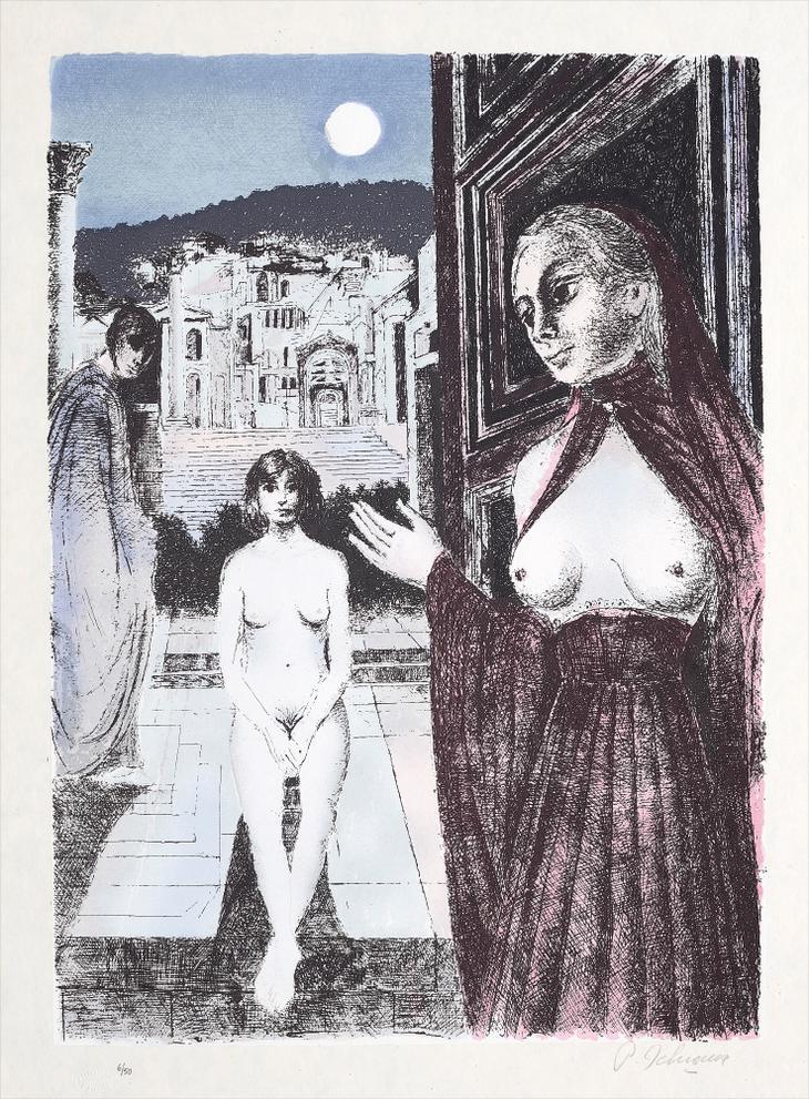 Paul Delvaux-La Reine De Saba (The Queen Of Sheba)-1982