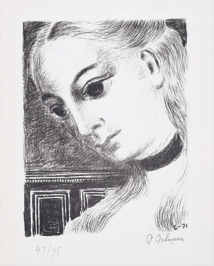 Paul Delvaux-Anne De Profil (Annes Profile)-1971