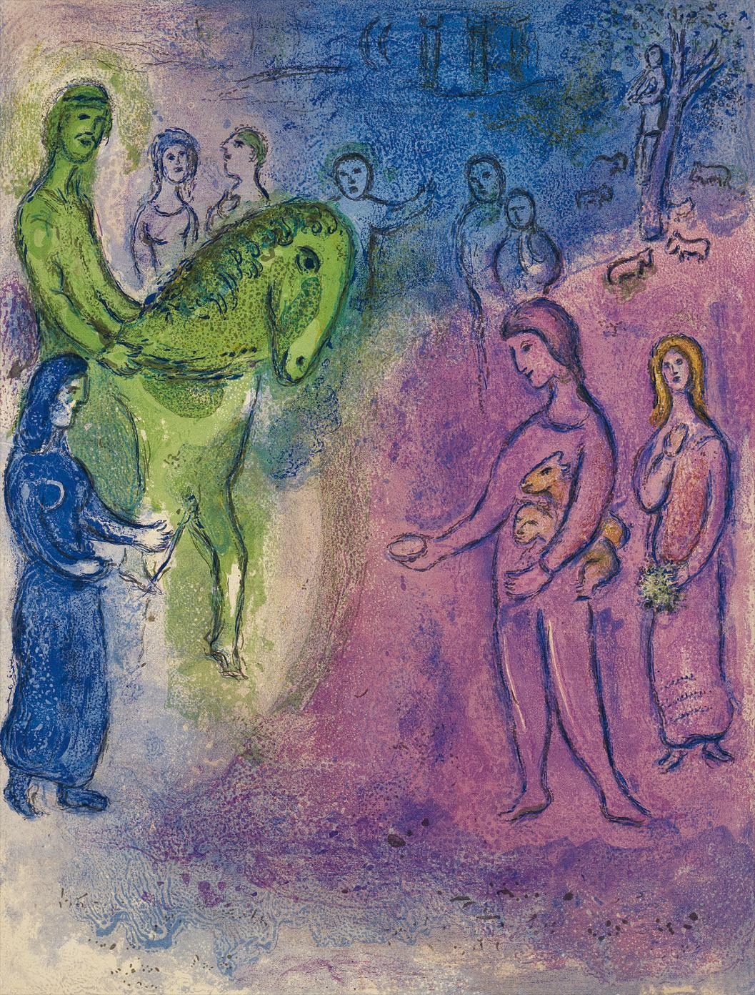 Marc Chagall-Arrivee De Dionysophane (The Arrival Of Dionysophanes), Pl. 37, From Daphnis And Chloe-1961