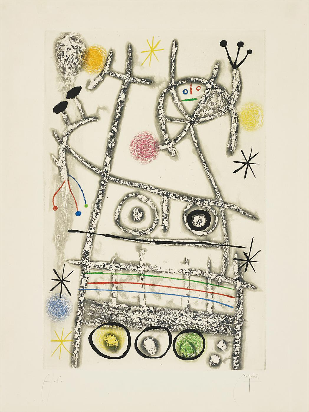 Joan Miro-Les Forestiers (Gris) (The Foresters - Grey)-1958