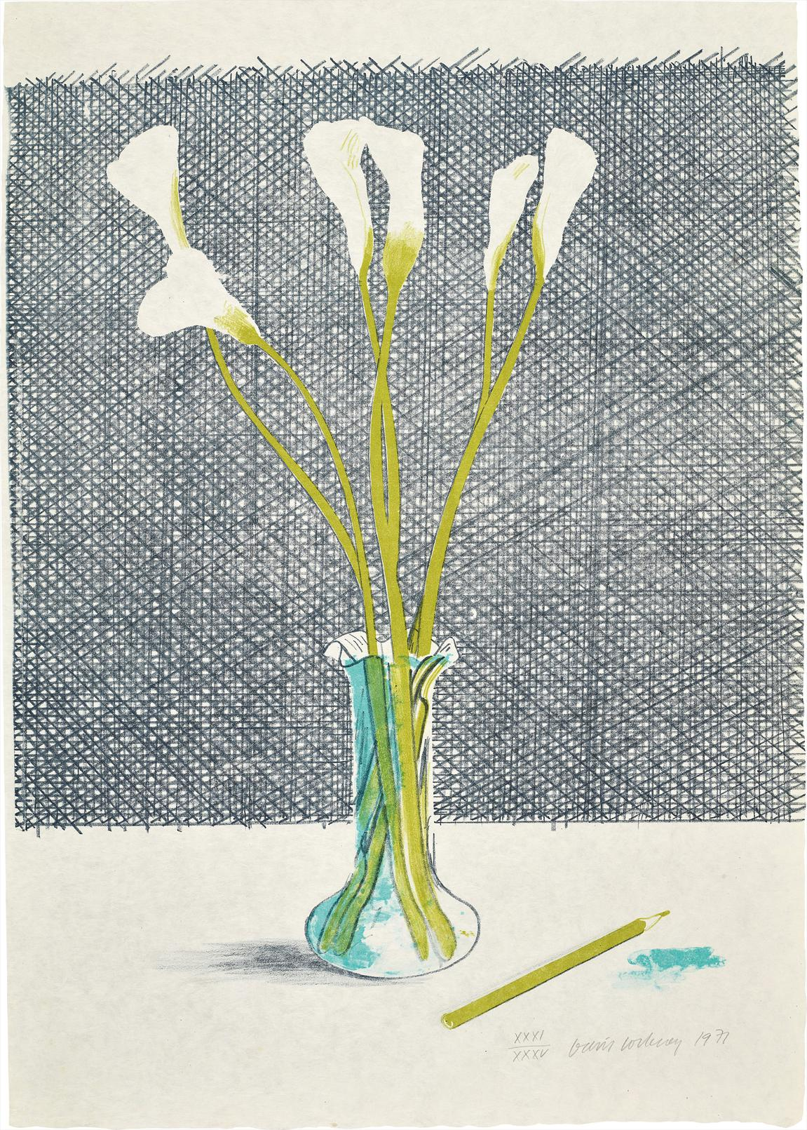 David Hockney-Lillies, From Europaische Graphik No VII-1971