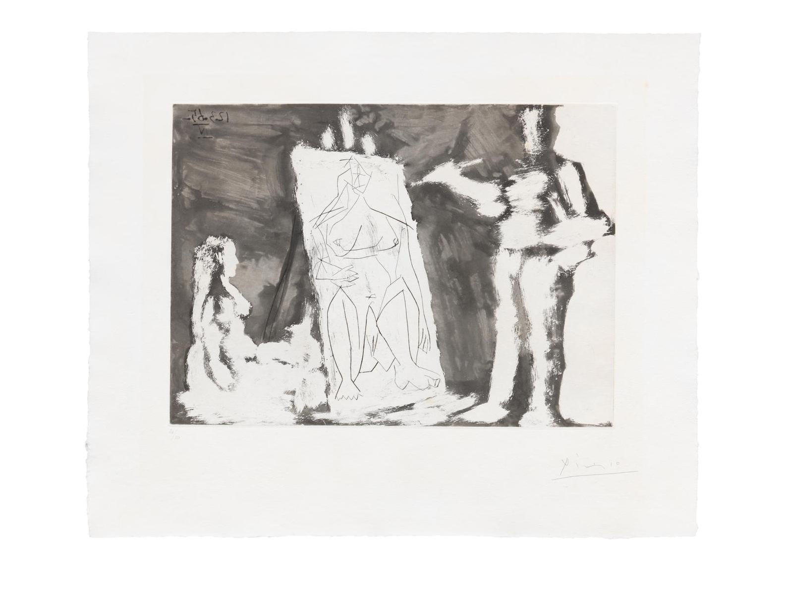 Pablo Picasso-Peintre Et Sa Toile, Avec Un Modele (Bloch 1218; Baer 1200.Bb1)-1965
