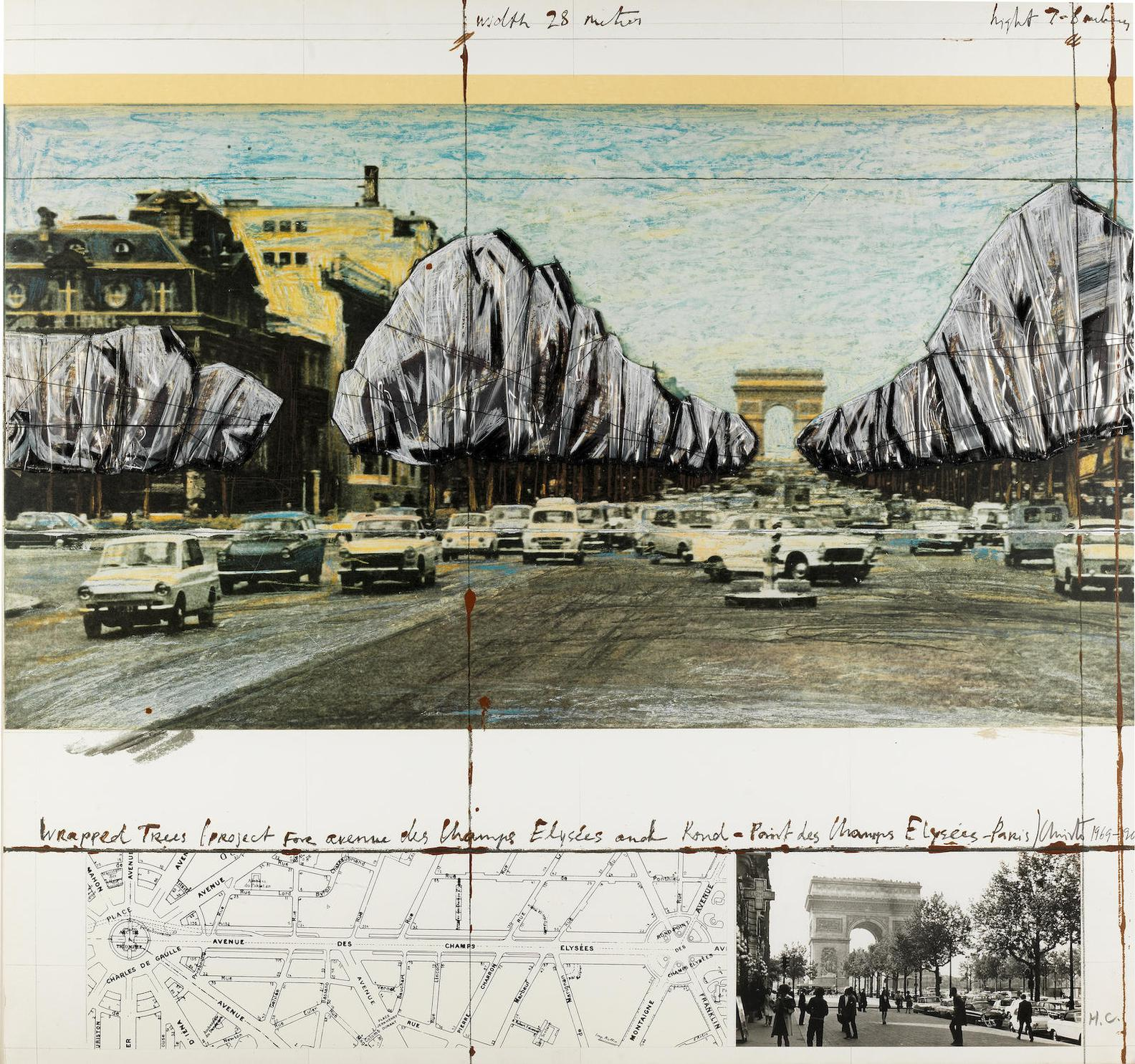Christo and Jeanne-Claude-Wrapped Trees, Project For The Avenue Des Champs-Elysees, Paris (Schellmann 160)-1992