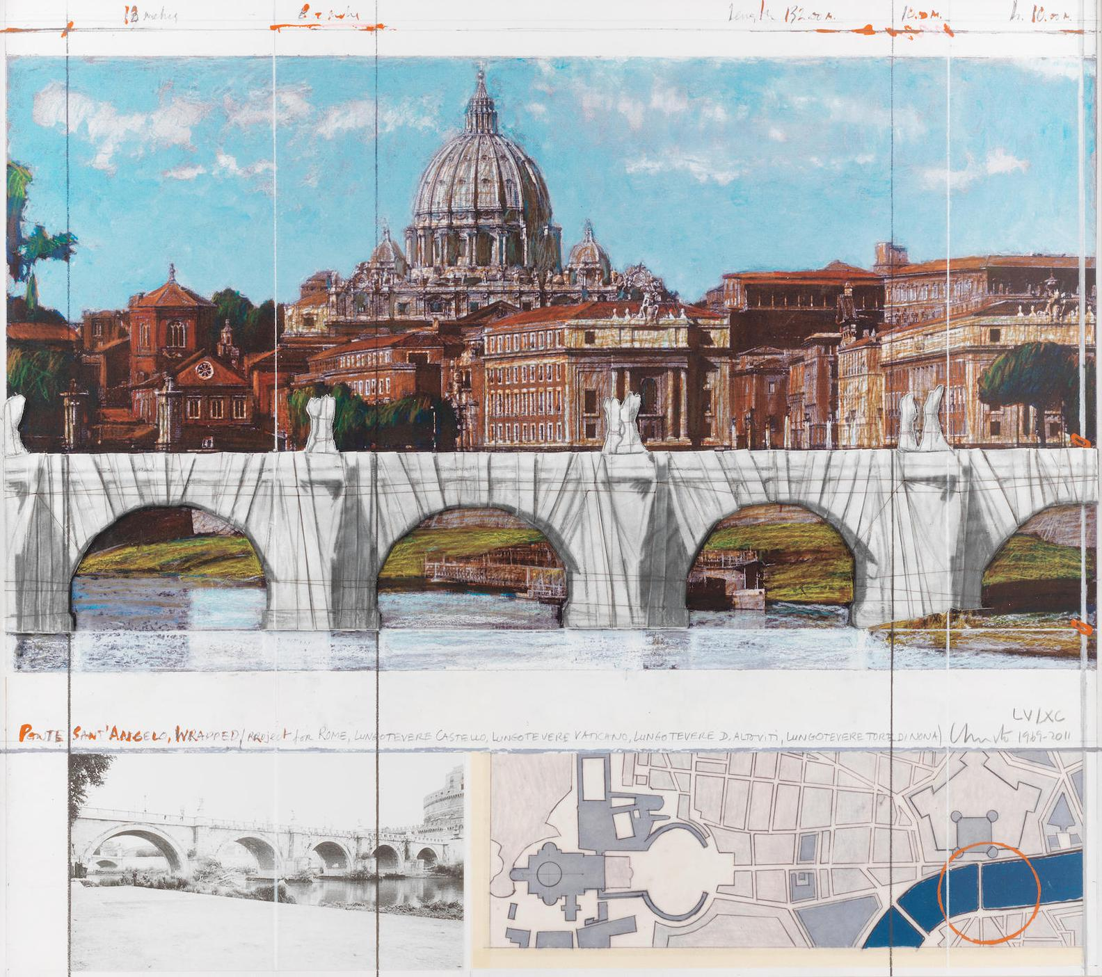 Christo and Jeanne-Claude-Ponte Santangelo, Wrapped, Project For Rome (Schellmann 205)-2011