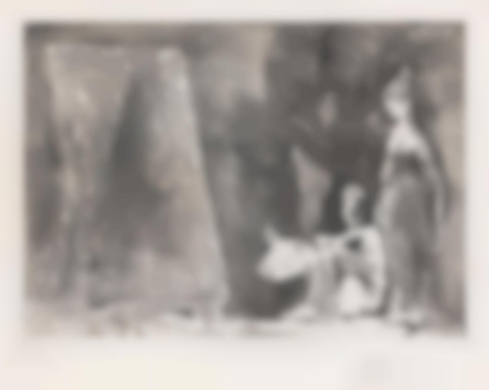 Pablo Picasso-Peintre Devant Sa Toile, Avec Un Modele, Pensant A Son Sujet: Deux Femmes, From Series 347 (Bloch 1519; Baer 1535.Bb1)-1968