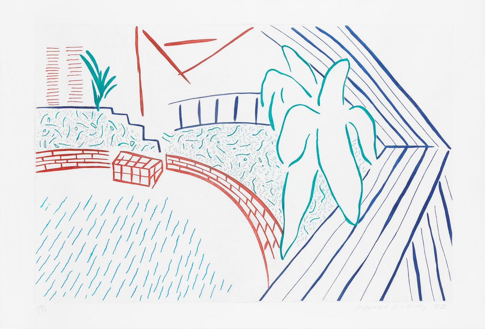 David Hockney-My Pool, From Eight By Eight, To Celebrate The Temporary Contemporary (Not In M.C.A.T. Catalogue)-1983