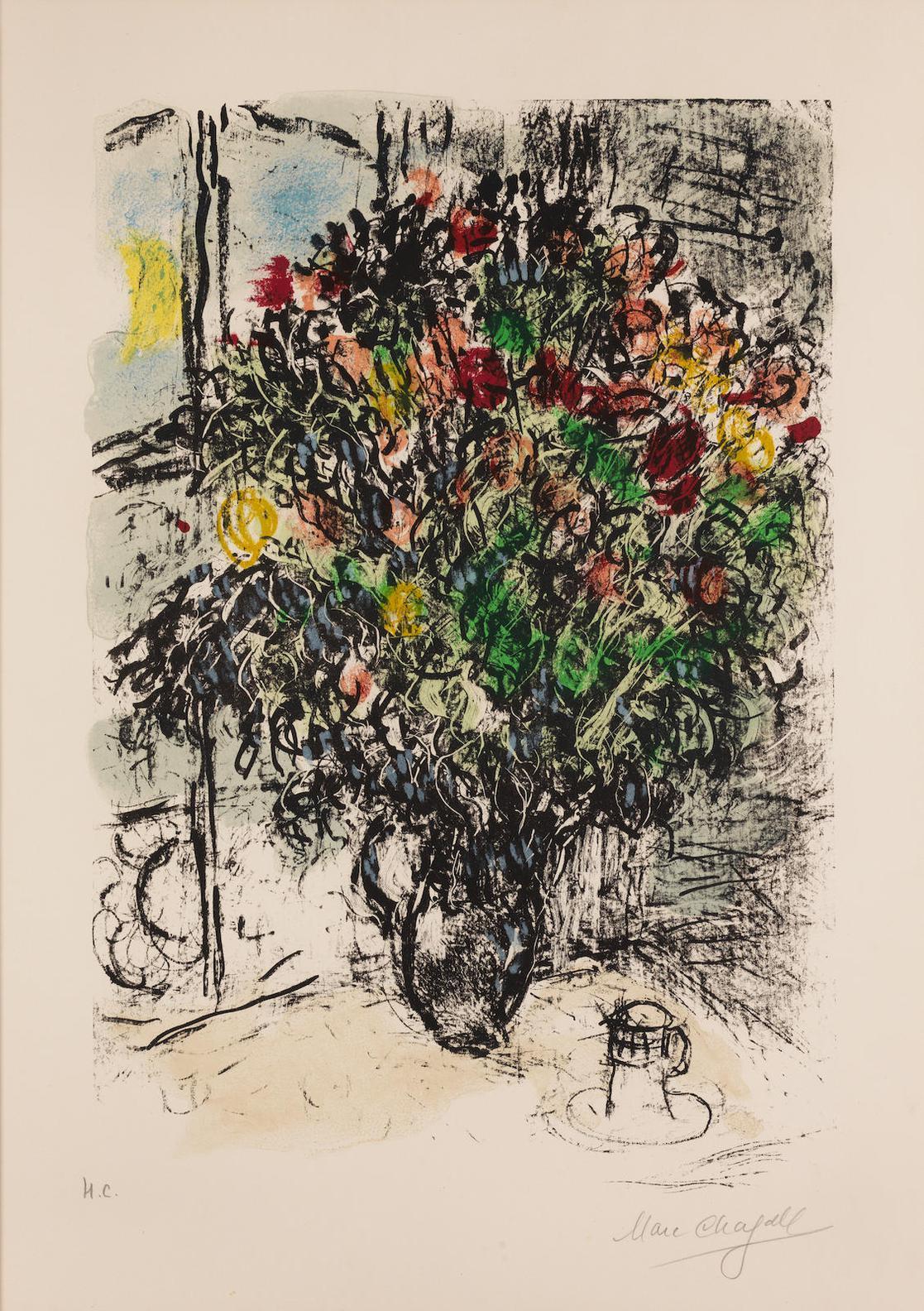 Marc Chagall-Bouquet Rouge (Mourlot 580)-1969