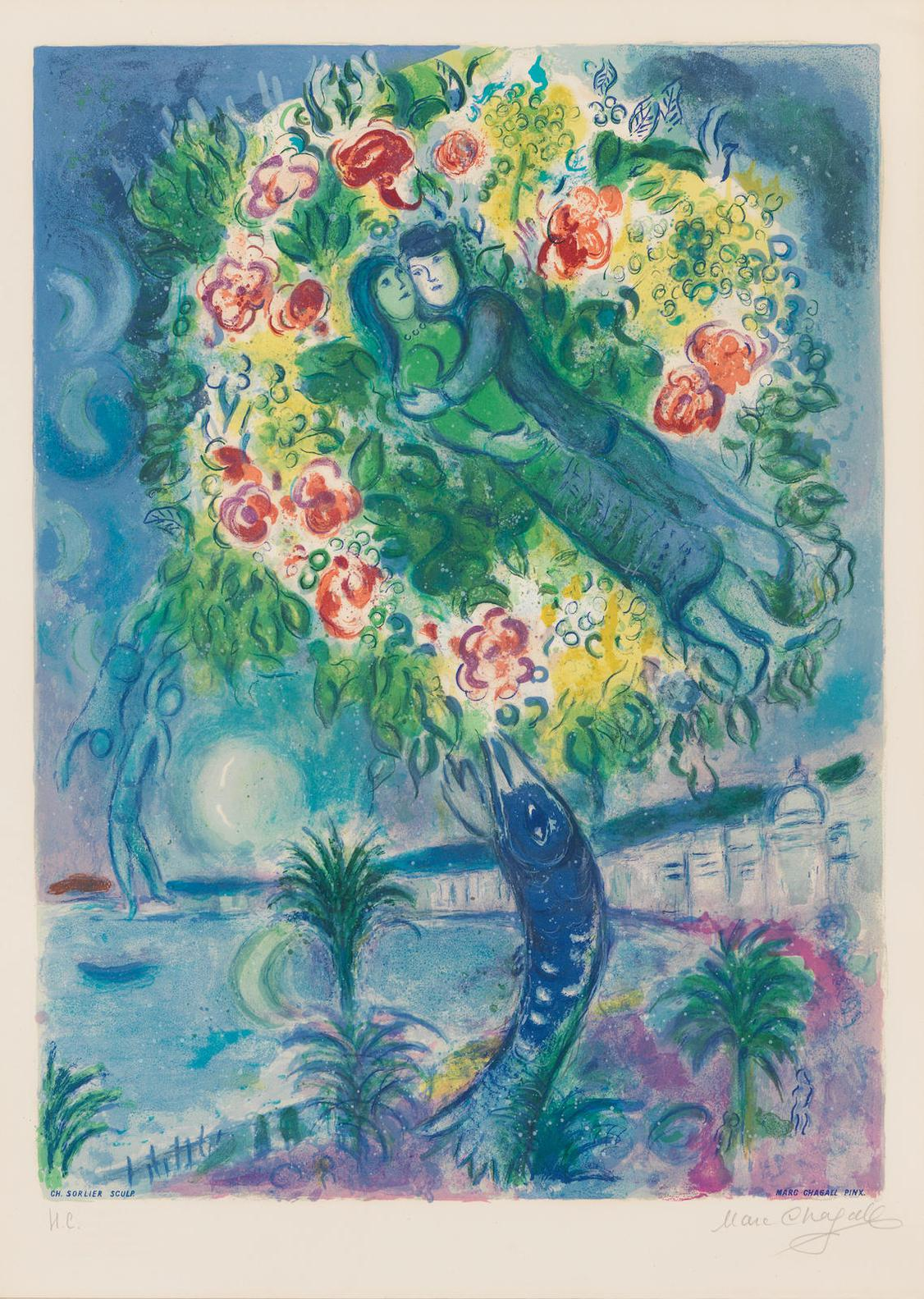 Marc Chagall-After Marc Chagall - Couple And Fish (Sorlier 34)-1967