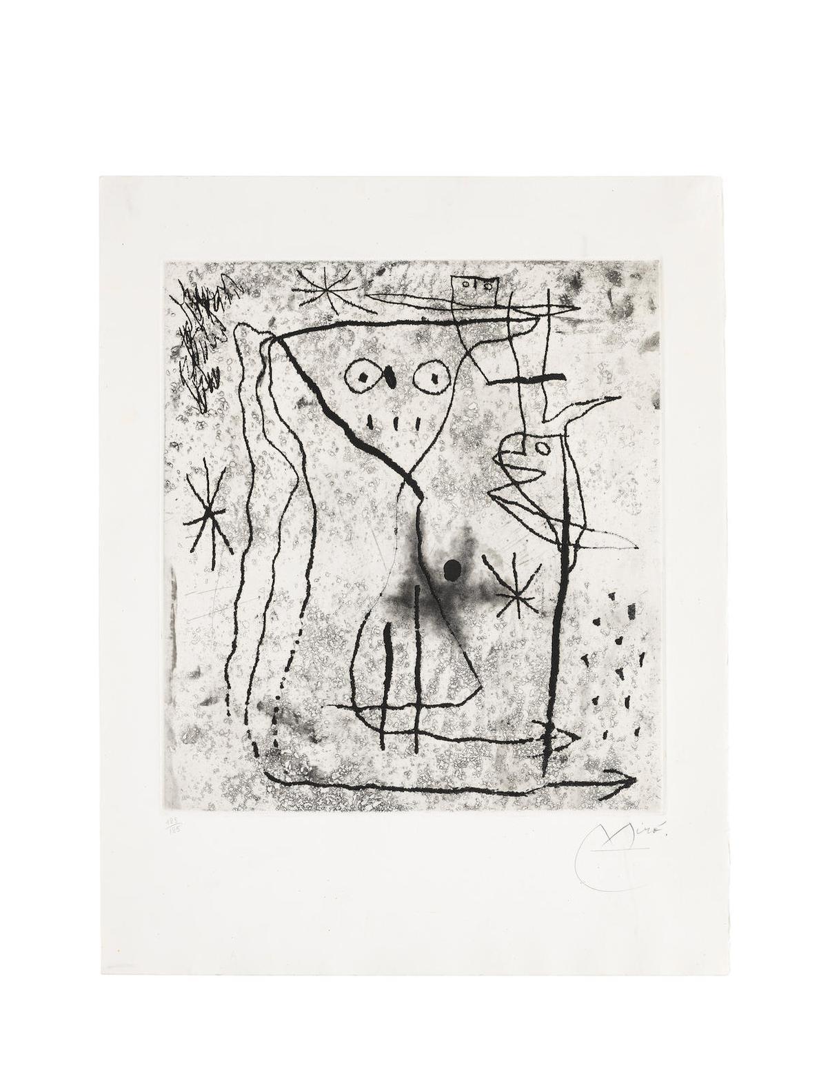 Joan Miro-Jeune Fille Aux Deux Oiseaux, From Trente Ans Dactivite (Dupin 549; Cramer Books 144)-1967
