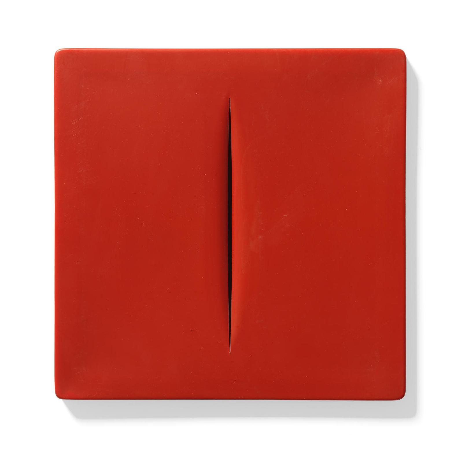 Lucio Fontana-After Lucio Fontana - Concetto Spaziale (Red) (Ruhe & Rigo M-15)-1968