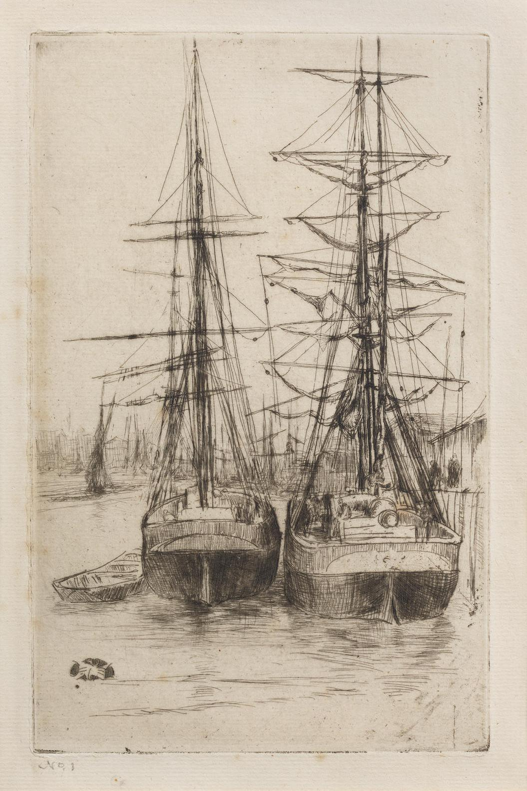 James Abbott McNeill Whistler-The Two Ships (Kennedy 148; Glasgow 143.V)-1875