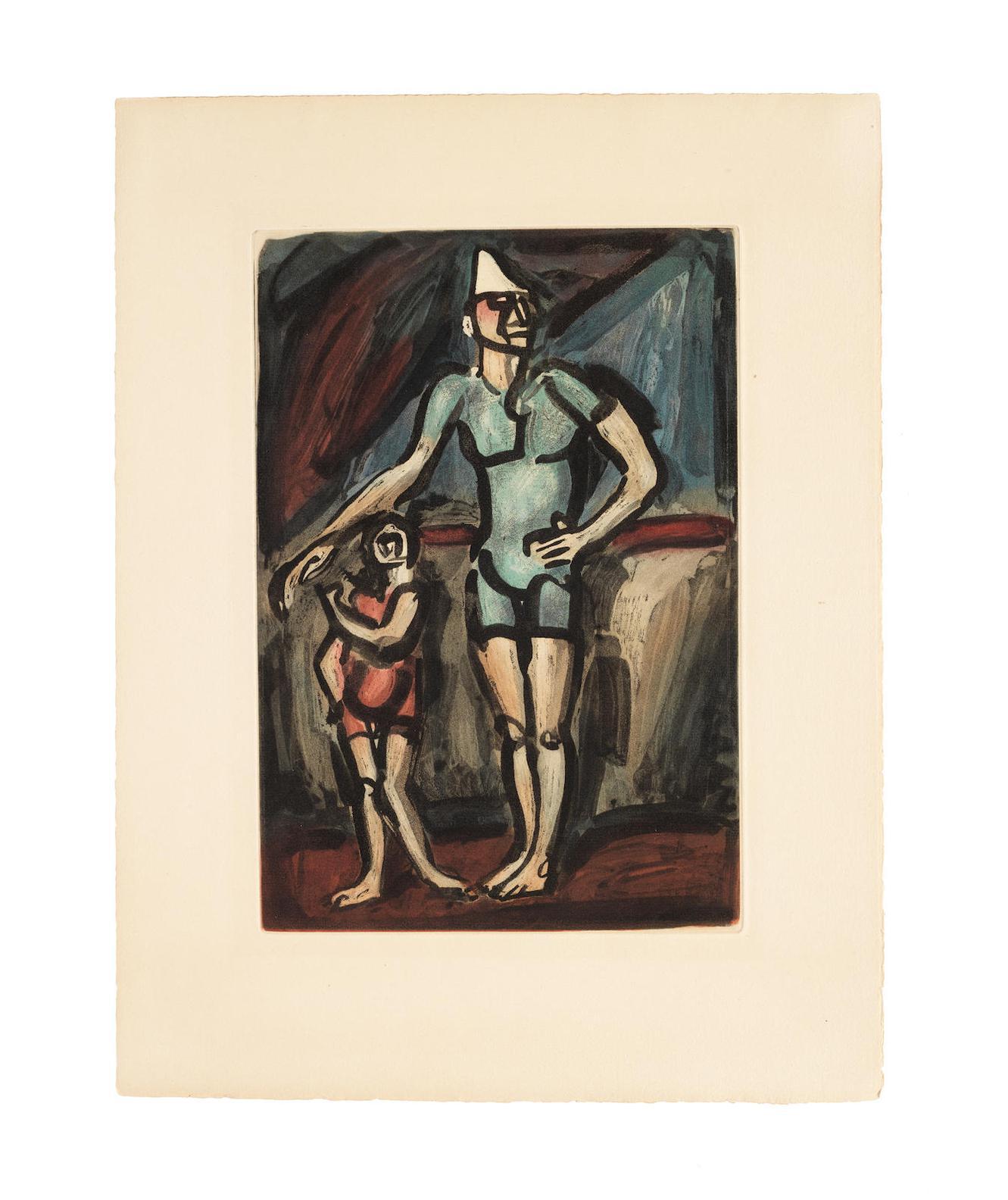 Georges Rouault-Plates II,III,IV From Cirque (Chapon Rouault 199-201) - Jongleur, Le Clown a la Grosse Caisse, Clown et enfant-1930