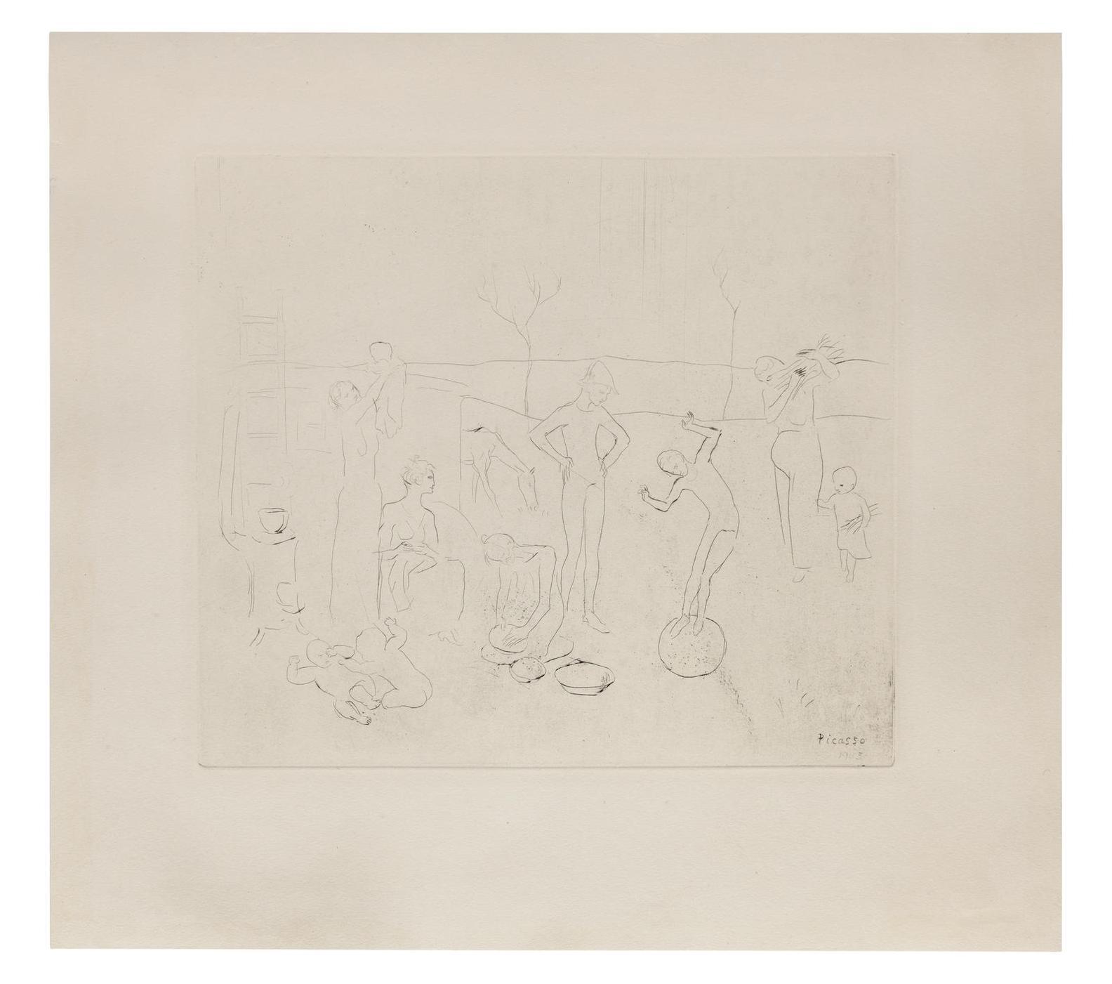 Pablo Picasso-Les Saltimbanques (Bloch 7; Baer 9)-1905