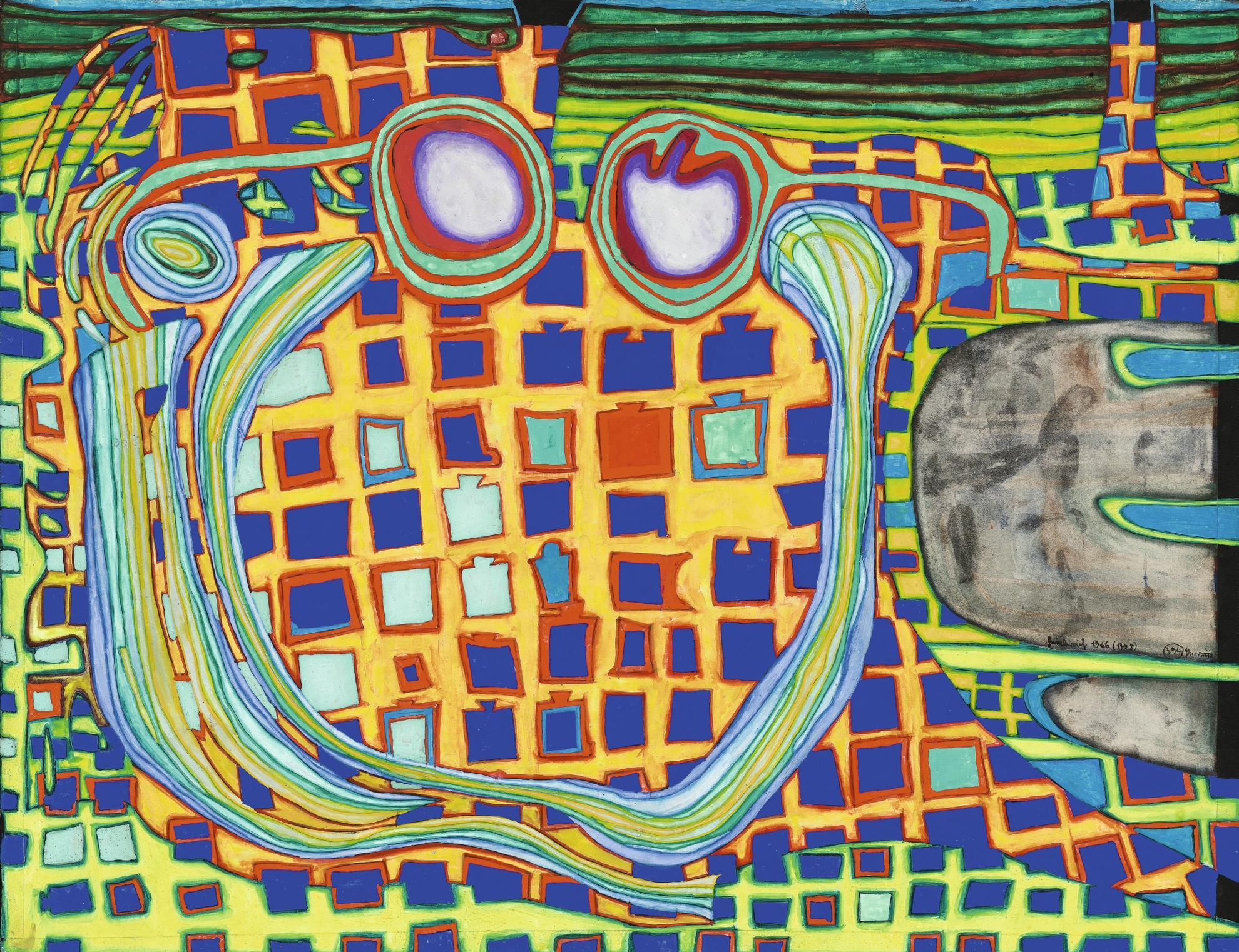 Friedensreich Hundertwasser-Les Lunettes Adoucissantes Dalain Jouffroy - Deuxieme Tableau Sous Leffet Moindre De La Philocybine-1966