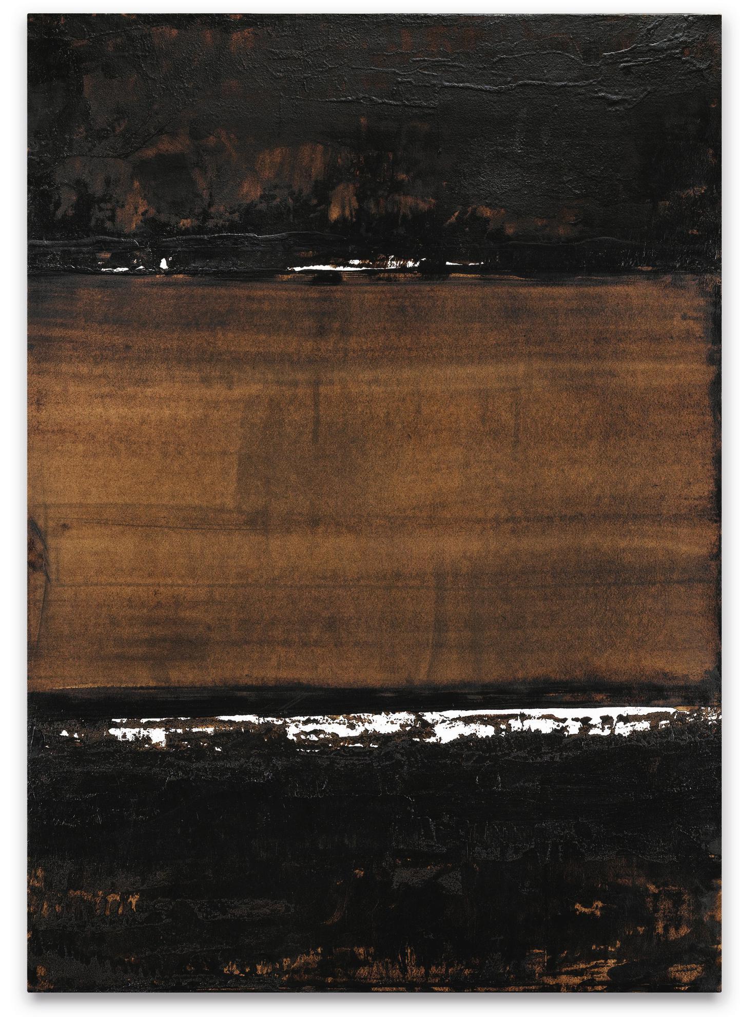 Pierre Soulages-Brou De Noix Sur Papier 74,5 X 52,5 Cm, 1999-1999