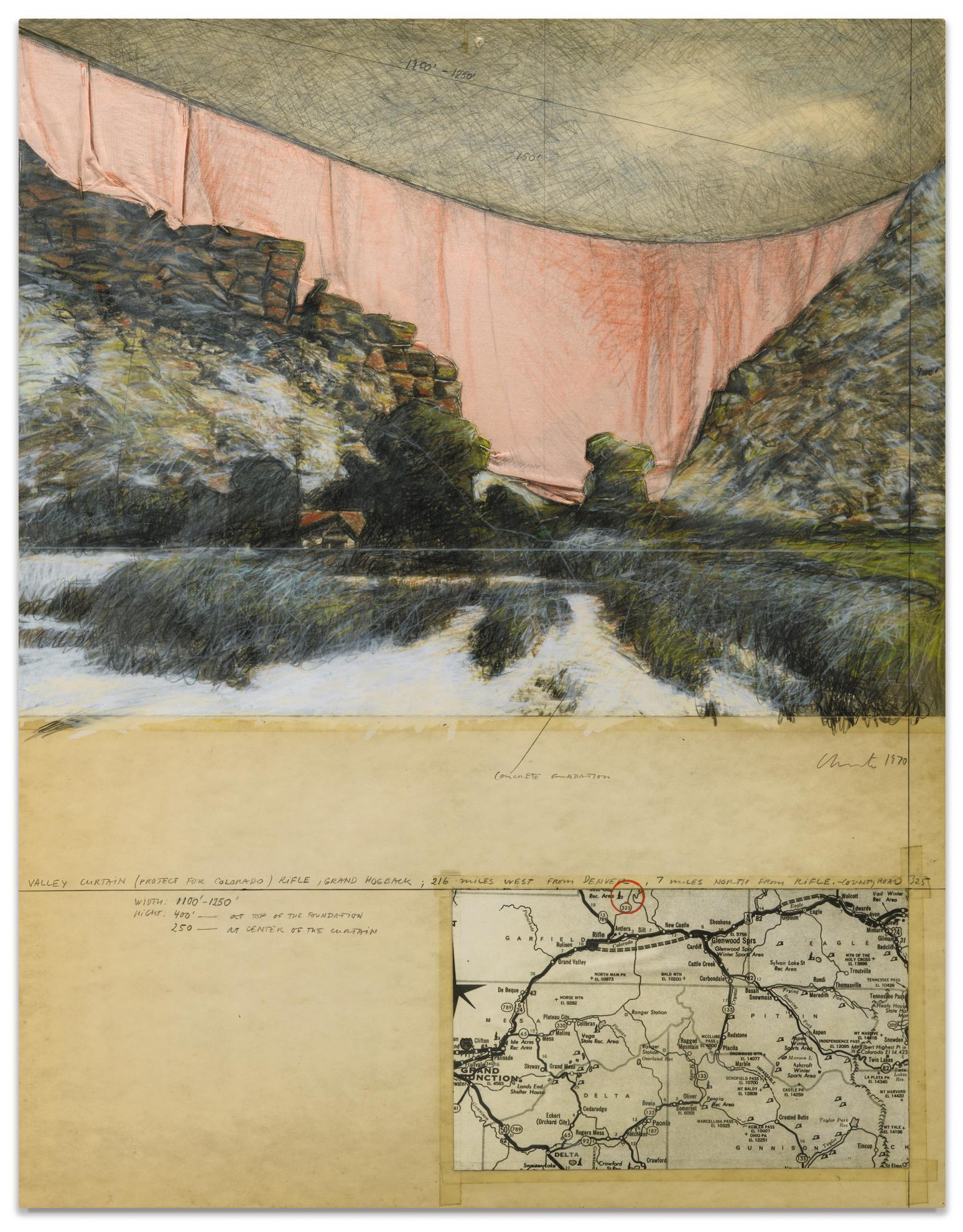 Christo and Jeanne-Claude-Valley Curtain (Project For Colorado)-1970